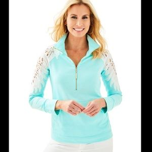 Lilly Pulitzer Skipper Popover Teal Lace Pullover